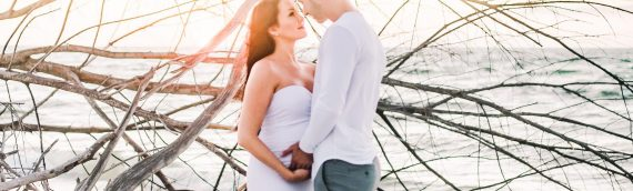 Driftwood Beach Maternity Sunset Session | Golden Hour Perfection